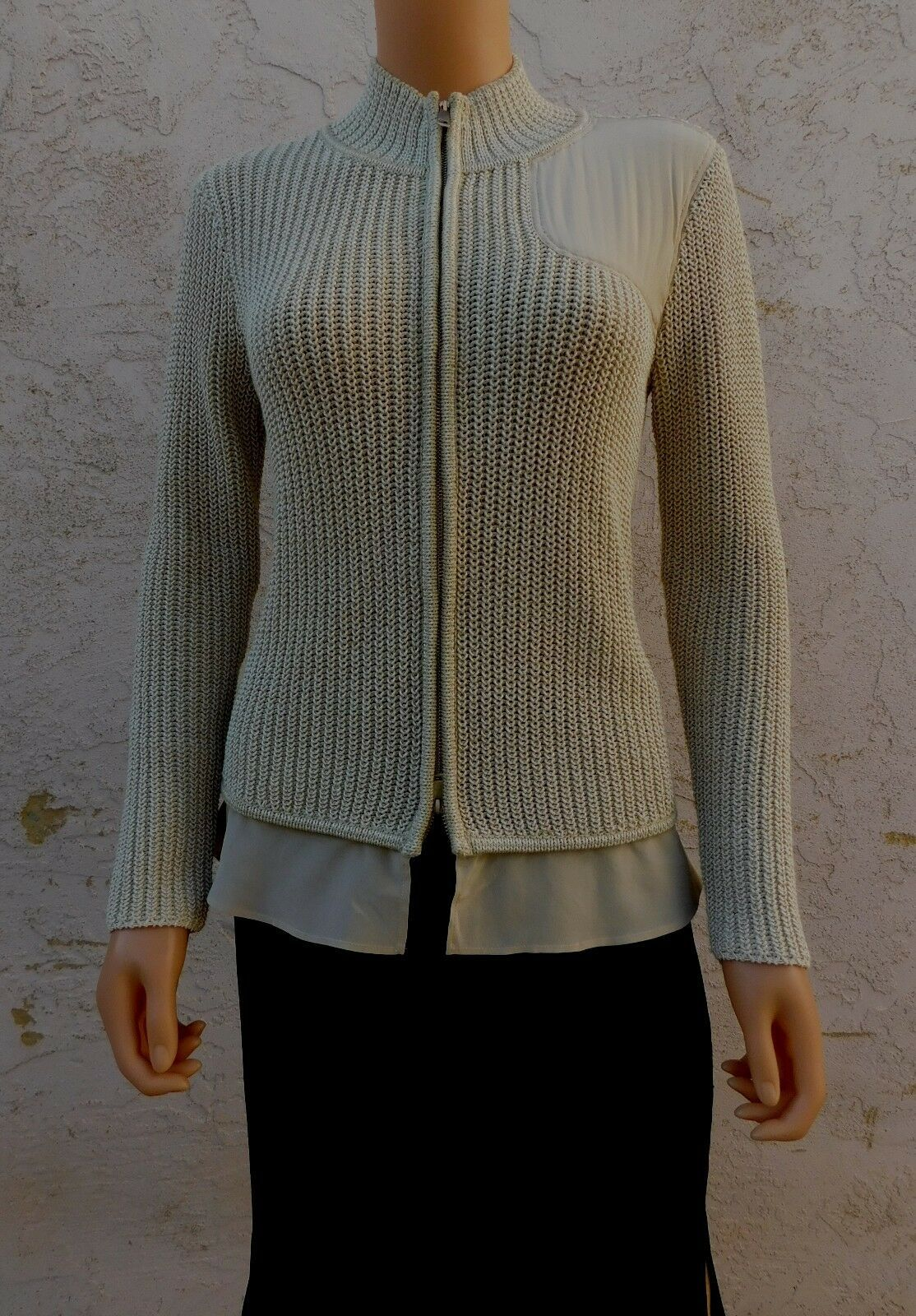 ST.JOHN Cardigan Sweater Beige Cotton Wool Silk Metallic sz P S M - $165.00