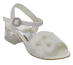 BDshoes Dream Feather Rhinestone Low Heel Dress Shoe (10 Little Kid|White) - $24.59