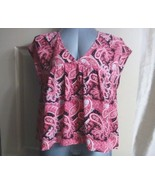 Express Women Boho Top Blouse Size Medium Cap Sleeve Floral Print Tie Ba... - $18.87