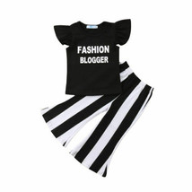 Kids Baby Girls Summer Tops Butterfly Sleeve T-shirt Bell-Bottom Striped... - $11.57+