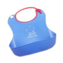 Toddle Burp Cloths Infant Baby Waterproof Glue Feeding Bibs Blue Set of 2
