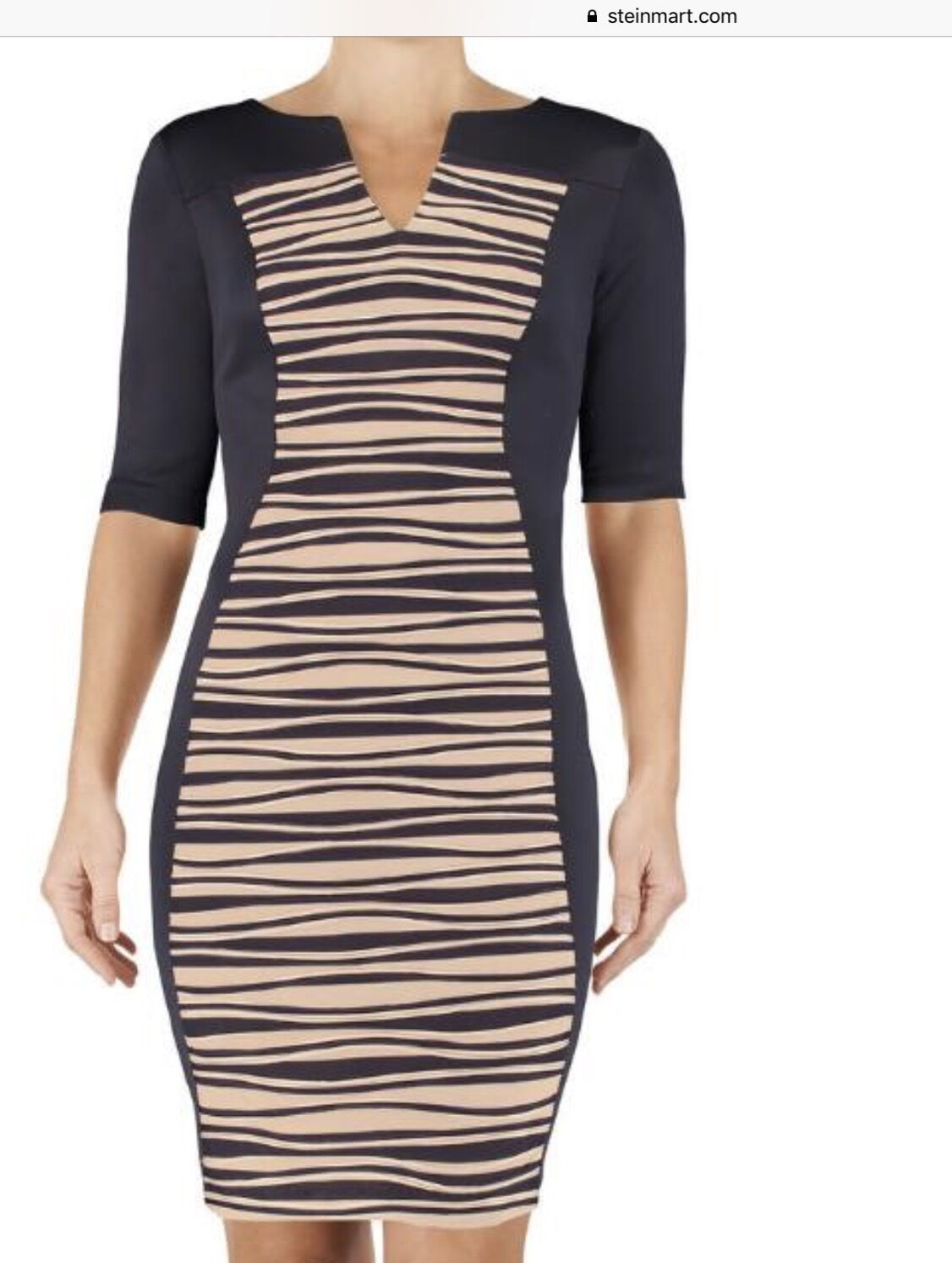 Connected Laser cut Panel Sheath midnight blue with beig insert Dress Size 8 NWT image 4