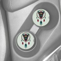 OWL DREAMCATCHER DESIGN ART SANDSTONE CAR DRINK HOLDER COASTER 2pc SET A... - $16.78