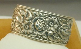 Large Wide S Kirk & Sons Sterling Floral Repousse Cuff Bracelet 19F EXC - $150.00