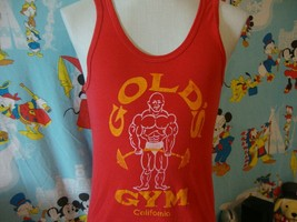 Vintage 80's Golds Gym California Red t shirt Tank Top S  - $49.49