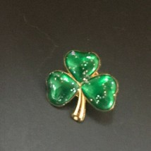 Vintage Small Goldtone & Sparkly Green Enamel Shamrock St. Patrick's Day... - $9.49