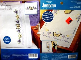 "stamped xstitch pillowcases & dresser scarf Janlynn ""PANSIES & BUTTERFLIES"" - $16.99"