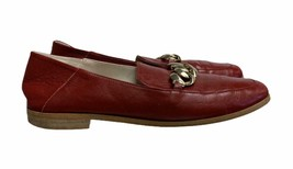 Zara Chain Loafers Leather Slip On Flats Comfort Size 38 M Red Womens - $36.79