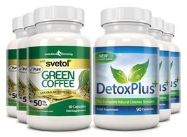 Pure Svetol Green Coffee Bean 50% CGA & Detox Cleanse Pack 3 Month Supply - $142.99