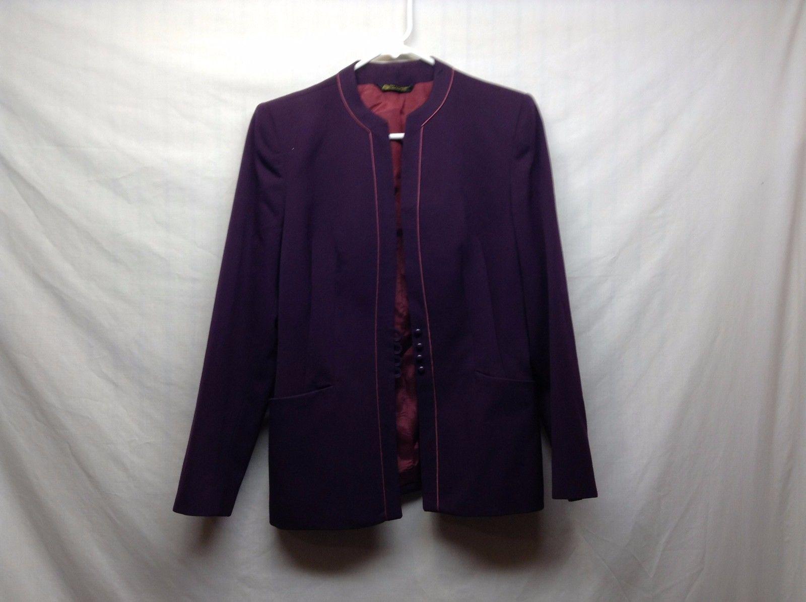 Tahari Deep Purple Button Up Pure Wool Jacket Sz 8