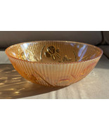 "Vintage Jeanette Iris & Herringbone Marigold Carnival Glass Serving Bowl 8"" - $14.99"