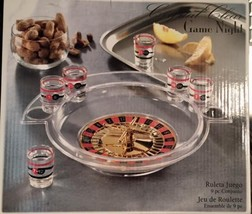 Drinking Game Shot Glass Roulette Game Night 9 Piece Set New In Box  - $9.45