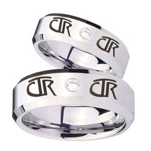 Bride and Groom CTR Beveled Edges Edges Silver Tungsten CZ Men's Ring Set - $79.98