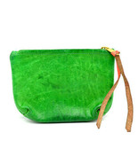 Vintage Hand Made Womens Leather Pouch Wallet Green - $25.11