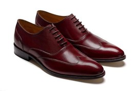 Handmade Men's Red Wing Tip Oxford Leather Shoes image 1