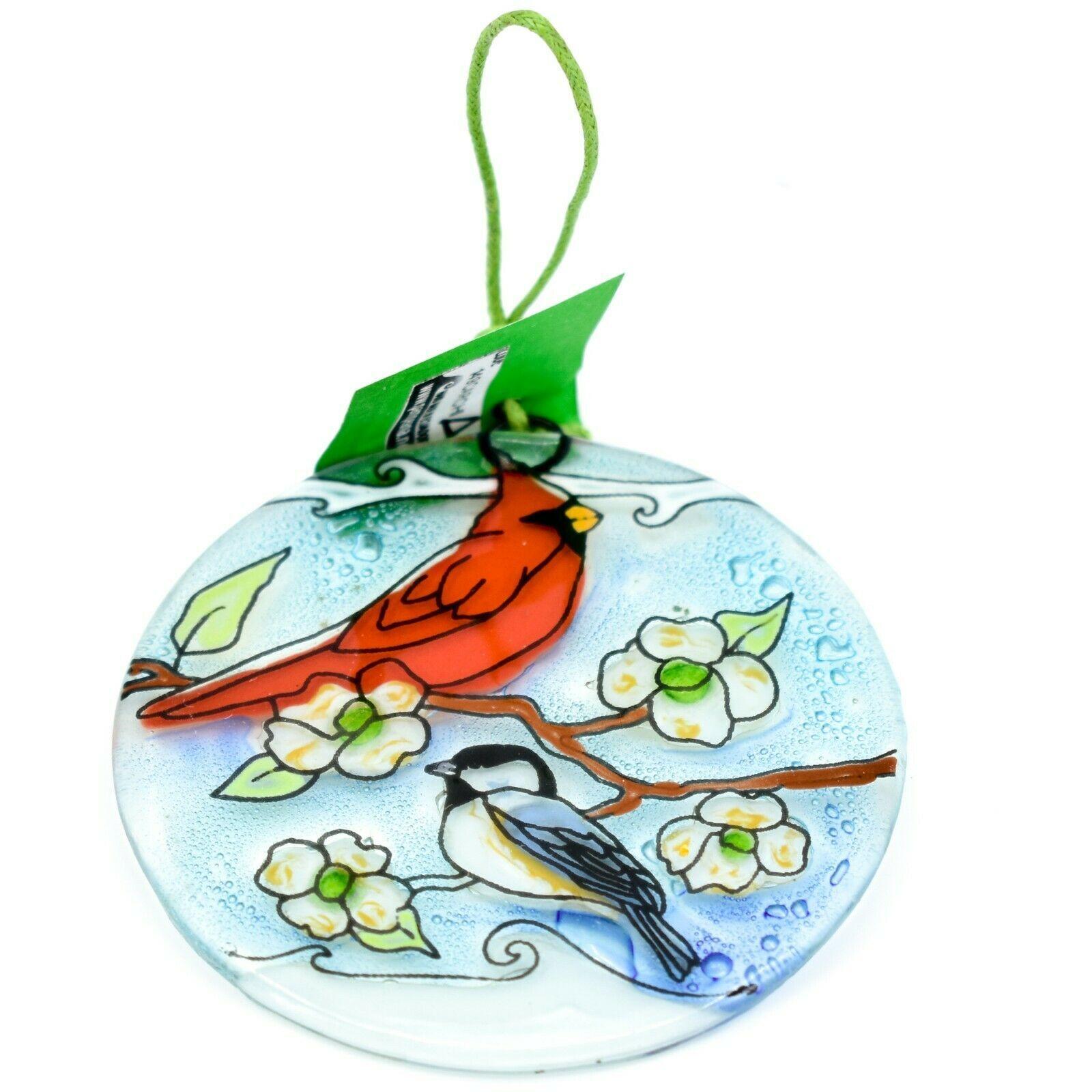 Cardinal & Chickadee Fused Art Glass Ornament Sun Catcher Handmade Ecuador