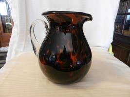 Brown Amber Glass Pitcher With Clear Handle, Leopard Spots Motif - $66.82