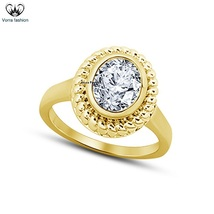 14k Yellow Gold Plated 925 Silver Oval Shape CZ Women's Solitaire Wedding Ring - $73.88