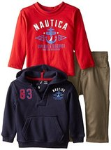 Nautica Baby Boys' 3 Piece Set Fleece Long Sleeve T Shirt Denim Pant, Sport Navy