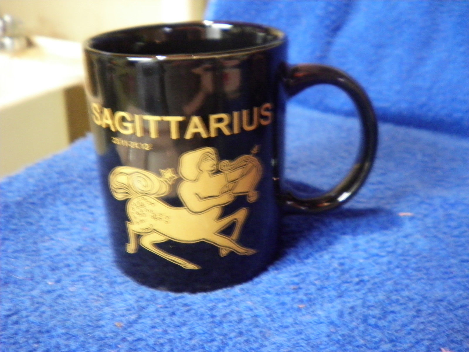 Primary image for new horoscope black w gold coffee cup mug sagitarius