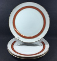 """Set of 3 Luncheon Plates by FF Fitz & Floyd Red Gold Bands 9"""" - $24.74"""