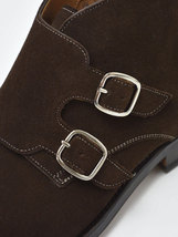 Handmade Men's Chocolate Color High Ankle Monk Strap Suede Boots image 3