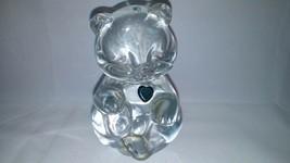 Fenton Clear Art Glass Birthday Teddy Bear Dark Heart Marked W/Fenton La... - $18.69