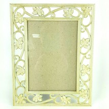 Ivy Leaf Ivory & Gold Metal Picture Frame Holds 5x7 Photo Tabletop Conno... - $13.09
