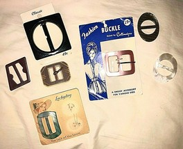 Lot of 7 Vintage Plastic Ribbon Slides Buckles Assorted Sizes and Colors - $19.80