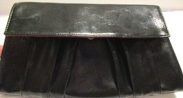 Daisy Fuentes Clutch Bag Non Leather Cotton Lining Blk Patent Silver Ton... - $13.86