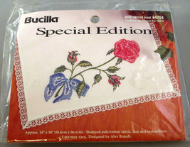 """ROSES Dresser Scarf Embroidery Stamped Fabric Cross Stitch Bucilla 14"""" x 38"""" New - $9.89"""