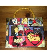 Romance Love Story Comic Strip Cigar Box Purse With Bamboo Style Handle - $59.99