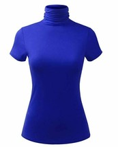 Women's Lightweight Jersey Turtleneck Top Cobalt Blue Small - $11.29