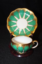 Vtg Koenigszelt Germany Handpainted Green & Gold Art Deco Demitasse Cup ... - $49.99