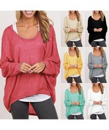 Office Ladies New Oversized Loose Long Sleeve Shirt Blouse Baggy Irregul... - $6.00