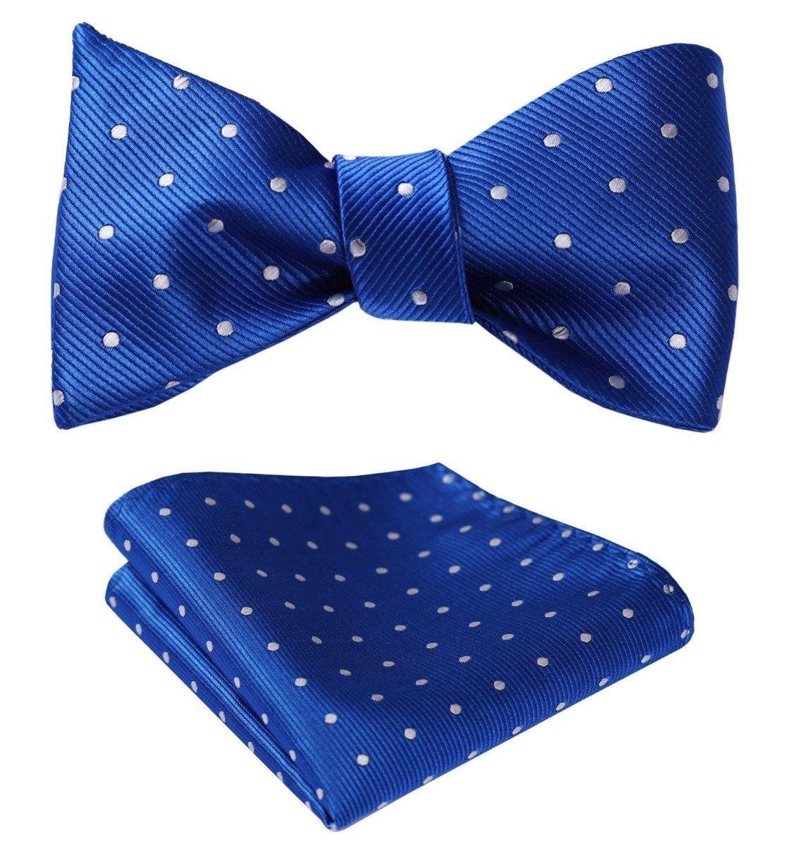 SetSense Men's Polka Dot Jacquard Woven Self Bow Tie Set One Size Blue / Silver - $27.00