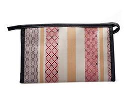 Vintage Cosmetic Case Black Striped Waterproof Clutch