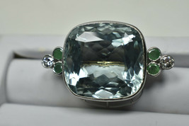 Tiffany & Co 50ct Platinum Aquamarine Emerald Diamond Brooch Pin Vintage... - $36,860.00