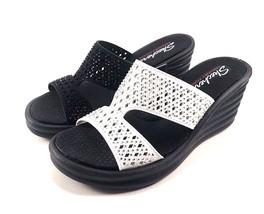 Skechers 31778 Memory Foam Wedge Platform Slip On Sandals Choose Sz/Color - £32.41 GBP
