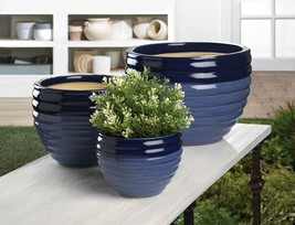 Set of 3 Two-Toned Blue Ceramic Flower Pots, Planters Drain Hole in Bottom - $45.49