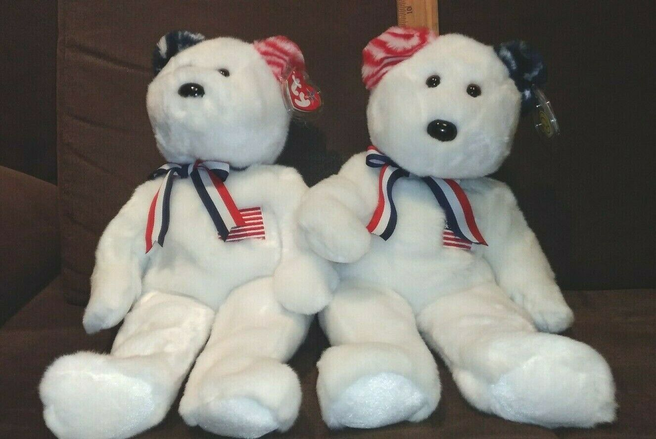 LOT OF 2 TY BEANIE BUDDY AMERICA THE WHITE TEDDY BEARS (with opposite color ear)