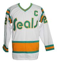 Custom Name # California Seals Retro Hockey Jersey White Johnston #22 Any Size image 3