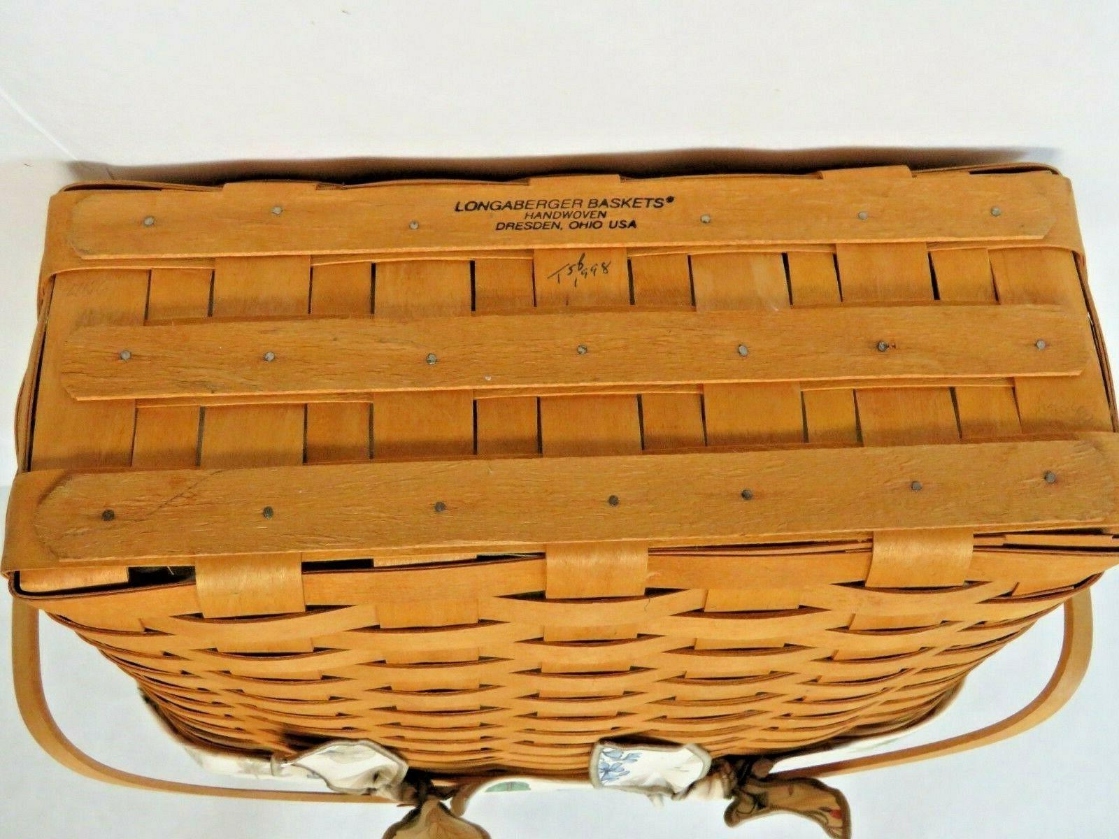 "Longaberger 1998 Large 15"" Basket Swing Handles, Liner, Handle Tie and More"