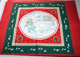 Vintage Set 8 Hallmark Fabric Christmas Pillows Prints Panel Girl w/ Geese - $14.24