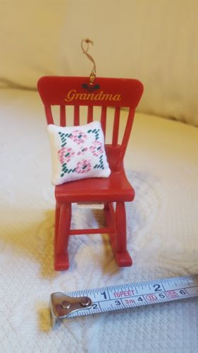 Red Grandma Rocking Chair W Pillow Christmas Holiday