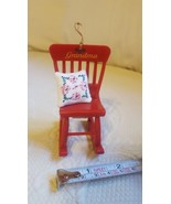 Red Grandma Rocking Chair w/ Pillow Christmas Holiday Ornament Tree Deco... - $9.90