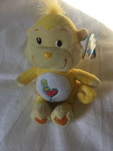 "Primary image for 9"" Care Bear Cousin Playful Heart Monkey Plush Yellow Heart Tummy Party Hat GUC"