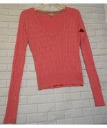 American Eagle Outfitters S Pink V Neck Cotton Blend  Long Sleeve Cable ... - $12.53