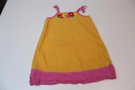 K4706 Girls HANNA ANDERSSON orange/pink SUNDRESS, tie straps, size 110/5-6 - $11.65