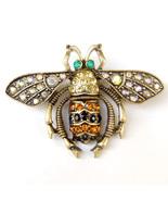 Flying Beetle Bee Bronze Crystal Wings Cool Fun Lovely Unisex Brooch Pi... - $8.99